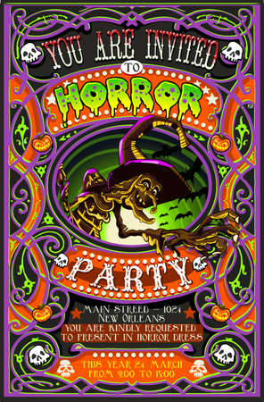 playbill: Detailed illustration of a Poster Invite for Halloween Party with Witch