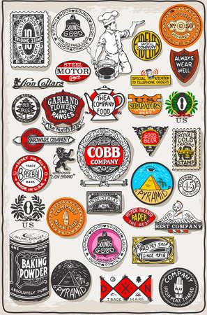 ephemera: Detailed illustration of a Vintage California Label Plaque, Black and Gold Illustration