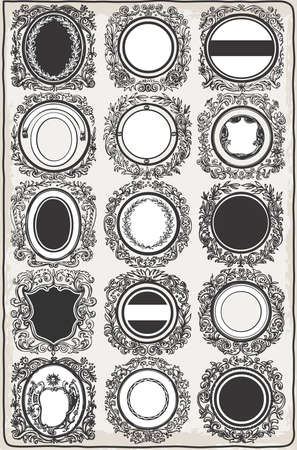 arm tattoo: Detailed illustration of a Set of Vintage Graphic Garlands vector Illustration