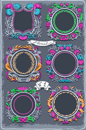 spring coat: Detailed illustration of a Set of Six Vintage Graphic Colored Garlands