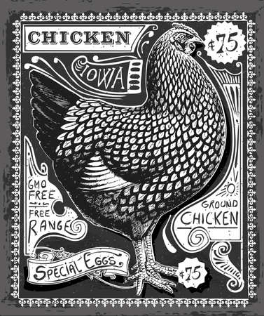 rooster: Detailed Illustration of a Vintage Poultry and Eggs Advertising on Blackboard