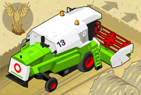 bales: Detailed illustration of a Isometric Green Thresher at Work in Rear View Illustration