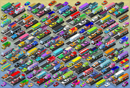 mega: Detailed illustration of a Isometric Cars, Buses, Trucks, Vans, Mega Collection All In Illustration