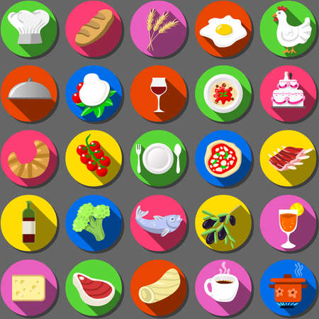 mozzarella cheese: Detailed illustration of a Twenty Five Flat Icon Italian Food Collection