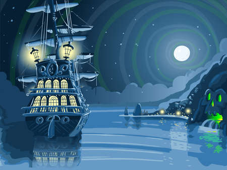 isla del tesoro: Ilustración detallada de un Adventure Island Nocturnal con pirata Galleon Anclado Vectores