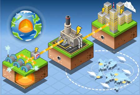 아이소 메트릭 인포 그래픽 지열 에너지 수확 다이어그램의 자세한 그림 일러스트