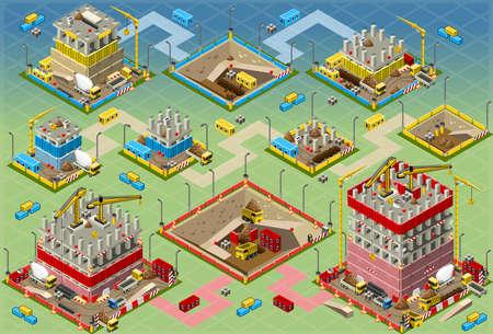 イラスト等尺性建物建設メガ設定の詳細すべての