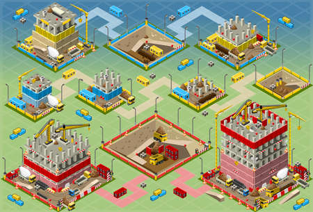 construction crane: Detailed illustration of a Isometric Building Construction Mega Set all in