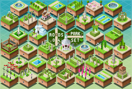 park: Detailed illustration of a Isometric Accessories for Green City Park Set Illustration