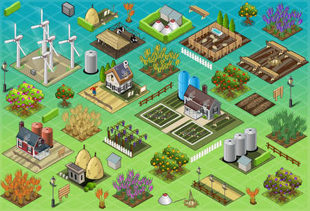 cow cartoon: Detailed illustration of a Isometric Farm Set Tiles Illustration