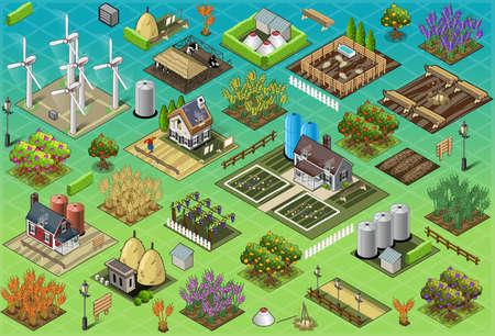 paisaje rural: Ilustraci�n detallada de un isom�trico Granja Set Azulejos