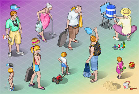 Detailed illustration of a Isometric Tourists Peoples Set in Vacation Vector