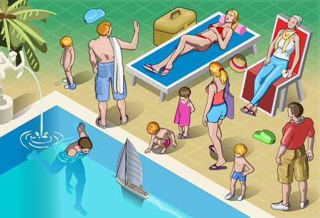 sunbath: Detailed illustration of a Isometric Tourists Peoples Set in Vacation Illustration