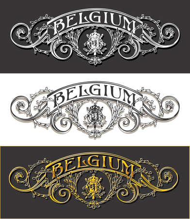 ephemera: Detailed illustration of a Vintage Belgium Label Banner, Withe, Black and Gold Illustration