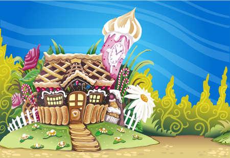 casita de dulces: Ilustraci�n detallada de un fondo de la fantas�a Mazap�n Dulces Casa Vectores