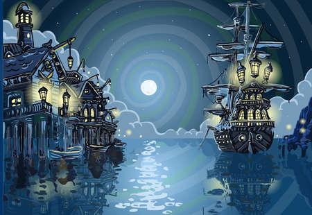 冒険の島 - パイレーツ ・ コーブ ・ ベイの詳細なイラスト