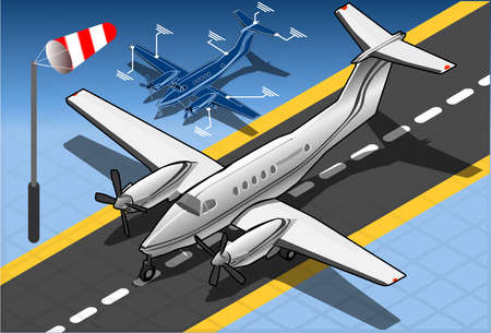 coast guard: Detailed illustration of a Isometric White Private Plane