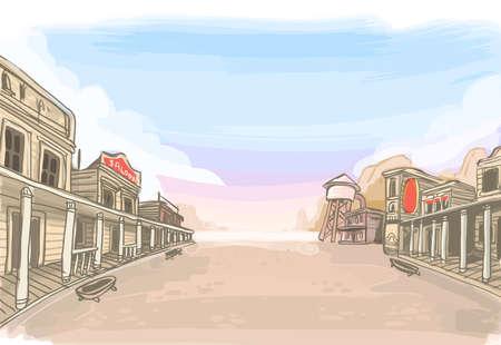 古いワイルド ウエスト風景の詳細なイラスト  イラスト・ベクター素材