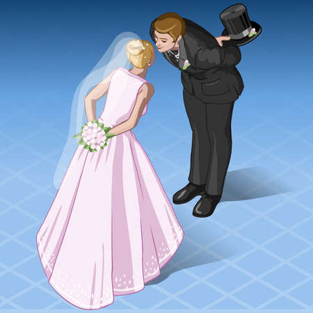 Detailed illustration of a  Isometric Kissing Wedding Couple Vector