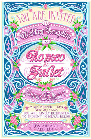 romeo and juliet: Detailed illustration of a Floral Vintage Wedding Invite