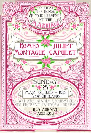 romeo and juliet: Detailed illustration of a Pink Floral Vintage Wedding Invite