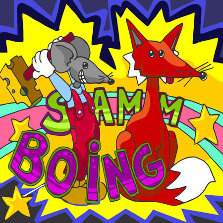 boing: Detailed illustration of a Happy Mouse and Fox Cartoon Character