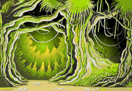 enchanted forest: Detailed illustration of a Magic Tale Forest Background Illustration