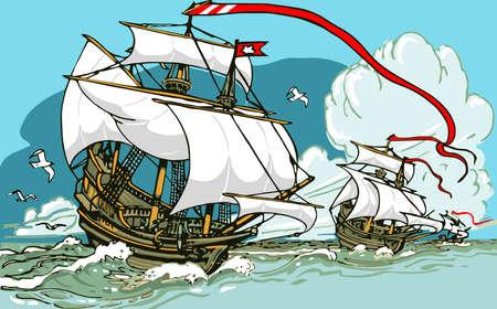 Illustration détaillée des Grandes Découvertes - Trois galions Voile