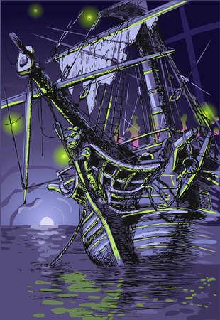 Gedetailleerde illustratie van een Adventure Island - de Ghost Ship