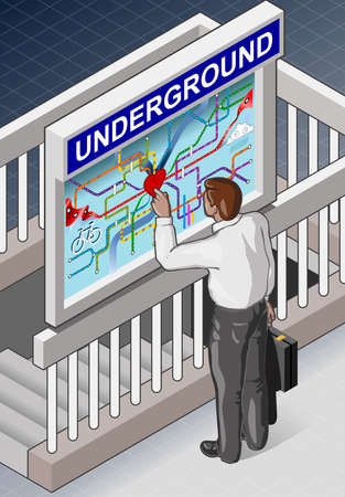 underground: Detailed illustration of a Isometric Underground Map - Man who is Searching for the Hearth of Town Illustration