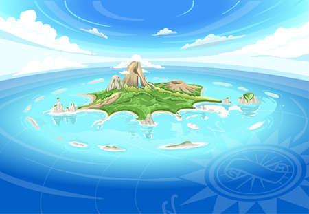 isla del tesoro: Ilustración detallada de una isla de la aventura - Treasure Island