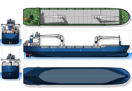 orthogonal: detailed illustration of a Orthogonal Blue Print of a Cargo Ship