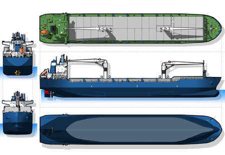 detailed illustration of a Orthogonal Blue Print of a Cargo Ship