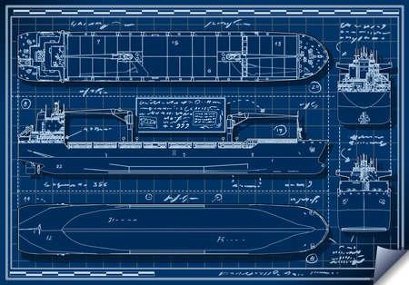 화물선의 직교 블루 프린트의 자세한 그림 일러스트