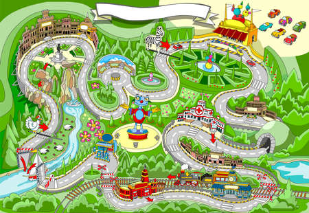 Ilustración detallada de un cuento Juego - Cars Racing Vectores