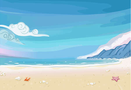 paradise: Detailed illustration of a Paradise Beach Lagoon Landscape