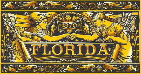 ephemera: Illustrazione dettagliata di un Label Vintage Florida Targa, nero e oro