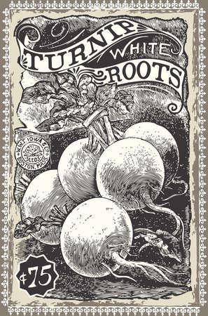 Detailed illustration of a Vintage Greengrocer - Turnip Advertising Illustration