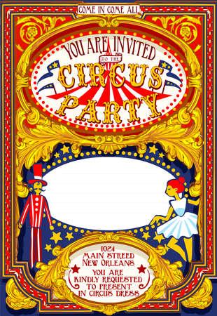 포스터의 자세한 그림은 서커스 파티 카니발 초대 일러스트
