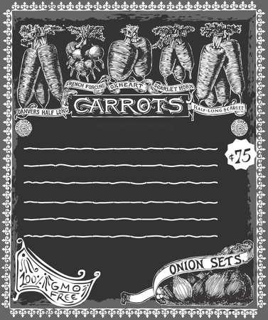 Detailed illustration of a Greengrocer - Vintage Carrots Chalkboard Advertising