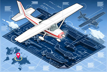 cessna: Detailed illustration of a Isometric Infographic Airplane Blue Print Illustration