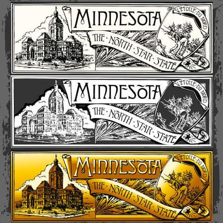 ephemera: Illustrazione dettagliata di un Label Vintage Minnesota Targa, Withe, nero e oro
