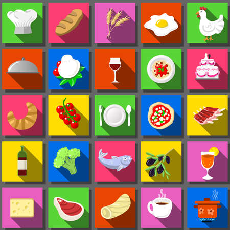 Detailed illustration of a Twenty Five Square Flat Icon Italian Food