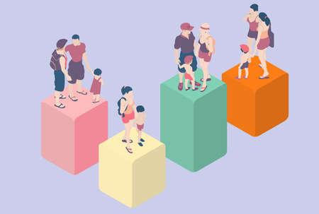 demografia: Ilustración detallada de un isométrico Infografía Tipos de familia - LGBT incluido Vectores