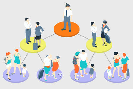 Detailed illustration of a Isometric Infographic Holiday - Fly Tasks Illustration
