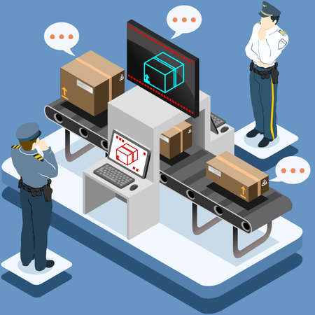 Detailed illustration of a Isometric Infographic Security Check
