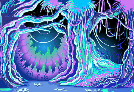 scary forest: Detailed illustration of a Magic Tale Forest Background Illustration