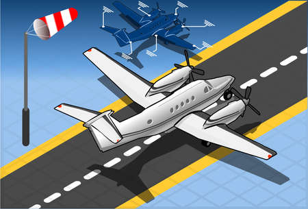 private jet: Detailed illustration of a Isometric White Private Plane