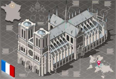 Detailed illustration of a Isometric Infographic Notre Dame de Paris - HD Quality Vettoriali