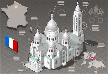 coeur: Detailed illustration of a Isometric Infographic Sacre Coeur Montmartre Paris - HD Quality Illustration
